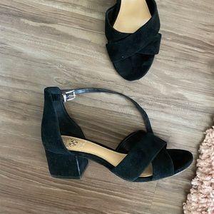 Black suede small heel sandals